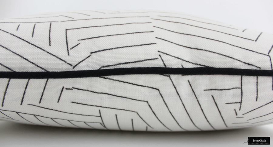 ON SALE 50% Off- Miles Redd for Schumacher Deconstructed Stripe Custom Pillows in Black with Black Welting (Both Sides 18 X 18) Made To Order