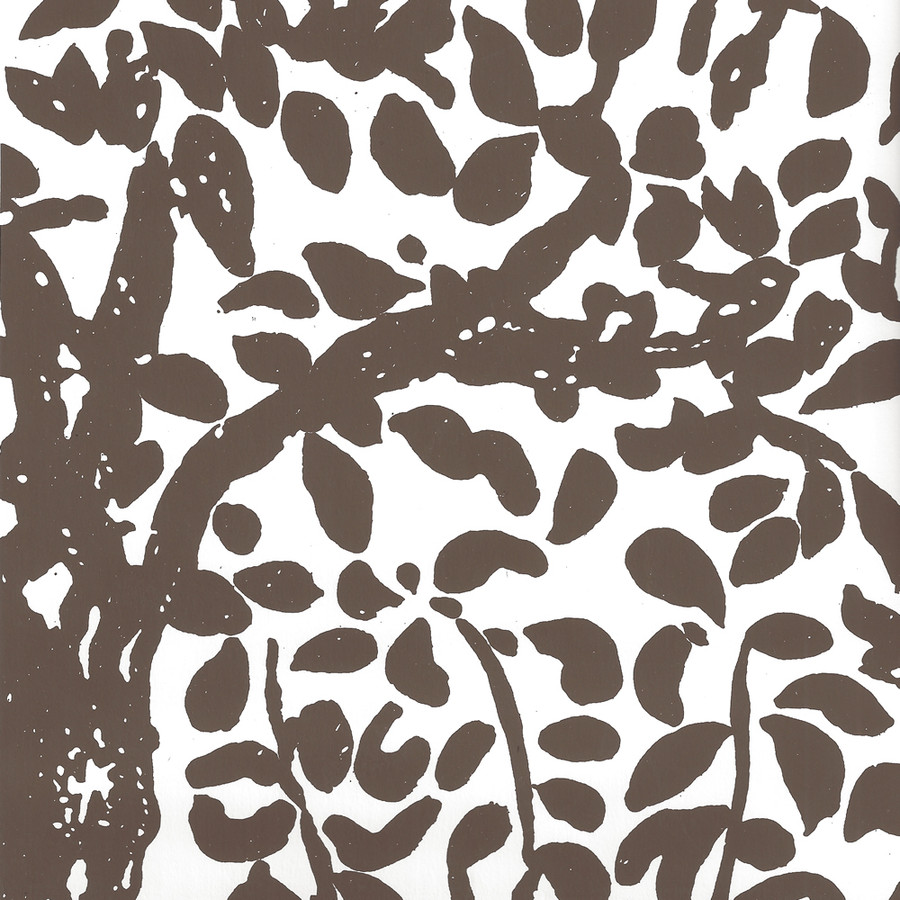 Quadrille Wallpaper Arbre de Matisse Brown on White 2030-05WWP