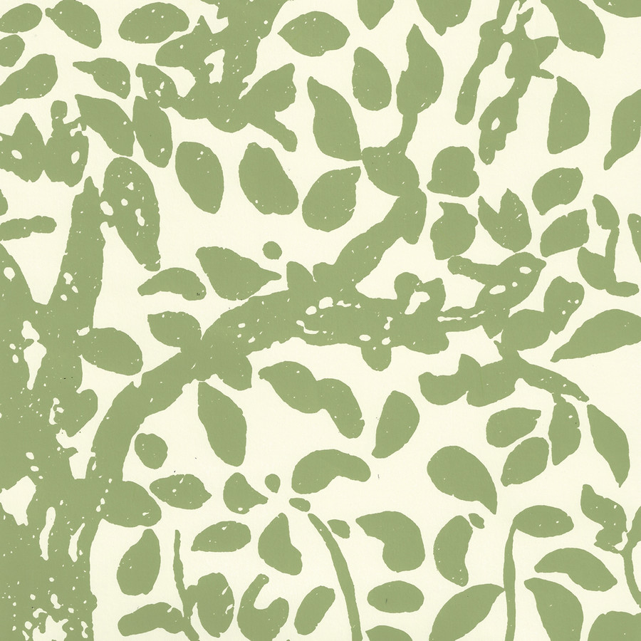 Quadrille Wallpaper Arbre de Matisse Jungle Green on Off White 2030-02WP