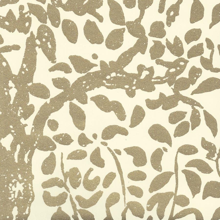 Quadrille Wallpaper Arbre de Matisse  Gold Metallic on Off White 2030-10MWP