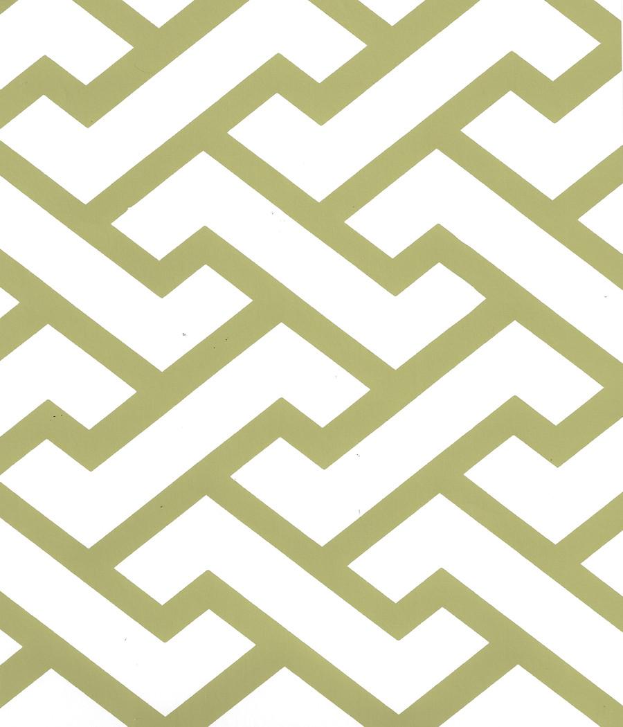 Quadrille Aga Wallpaper Jungle Green on White 6340-06WWP