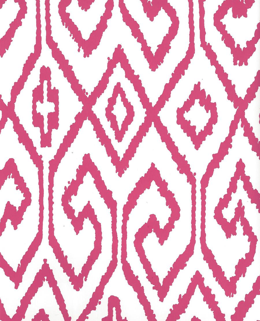 Quadrille Aqua IV Wallpaper Magenta on White 7240-07WP