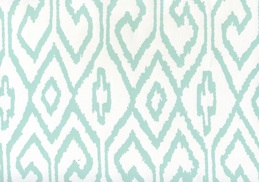 Quadrille Aqua IV Wallpaper Aqua on White Paper 7240-09WWP