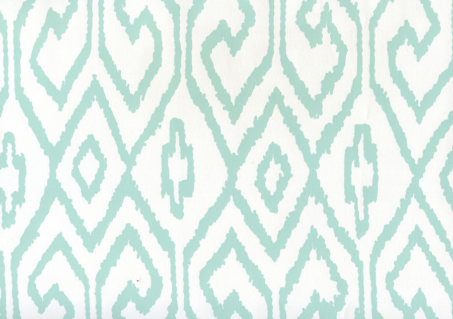 Quadrille Aqua IV Wallpaper Aqua on White Paper 7240-09WWP