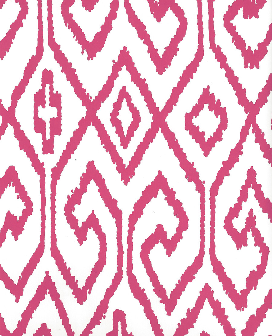 Quadrille Aqua IV Wallpaper Magenta on White 7240-07WP