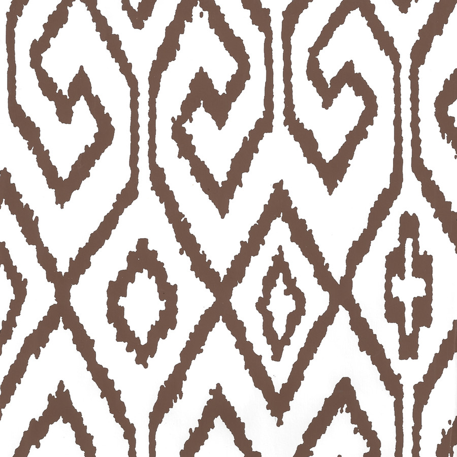 Quadrille Aqua IV Wallpaper Brown on White 7240-06WP
