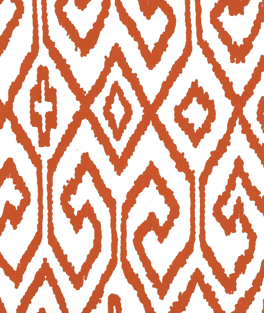 Quadrille Aqua IV Wallpaper Rust on White 7240-05WP