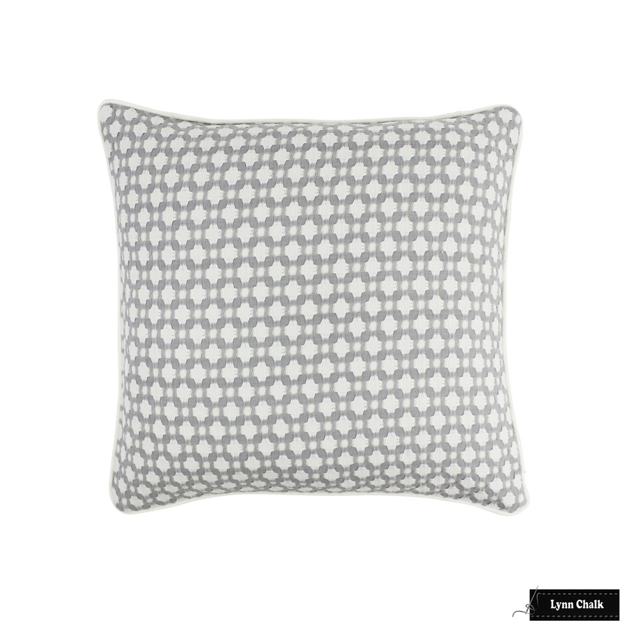 Schumacher Betwixt Zinc Blanc Pillow with Welting In Kravet Linen in Bleach (20 X 20)