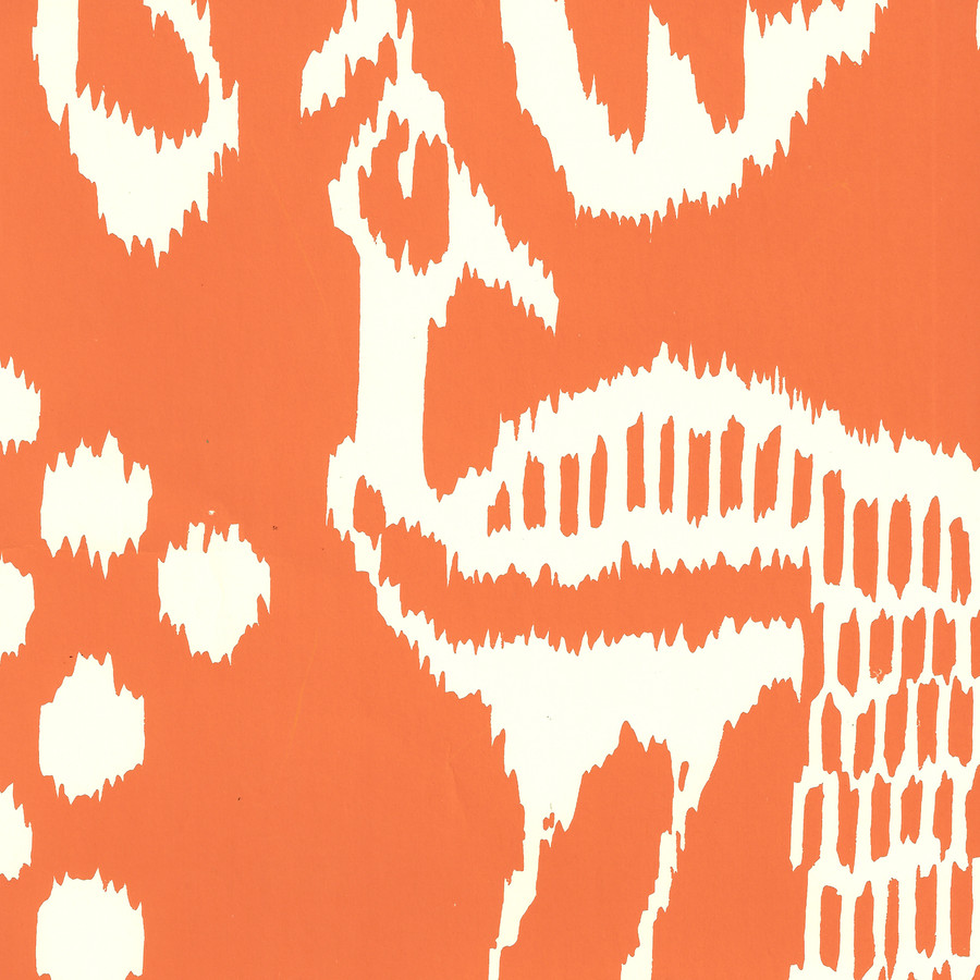 Quadrille Bali II Wallpaper Orange on Off White 2430-45WP