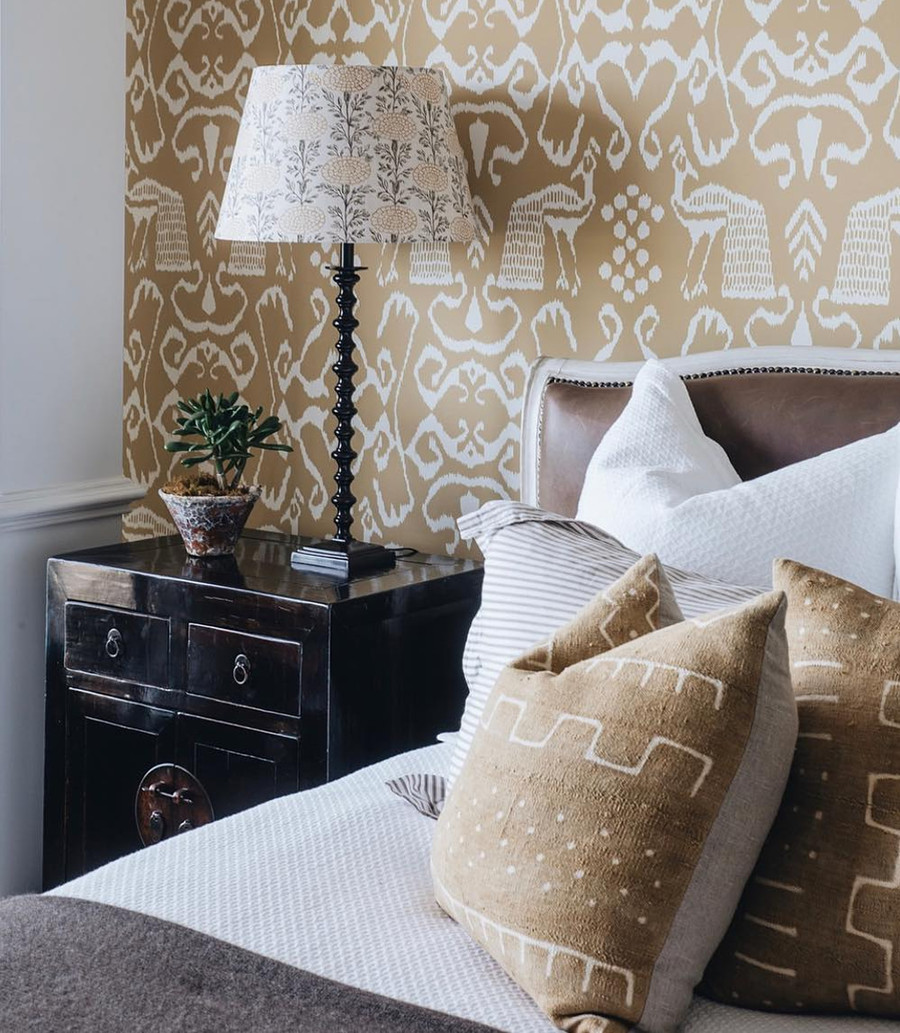Wallpaper Quadrille Bali II in Camel II on Almost White   Interior Design by Lynda Kerry