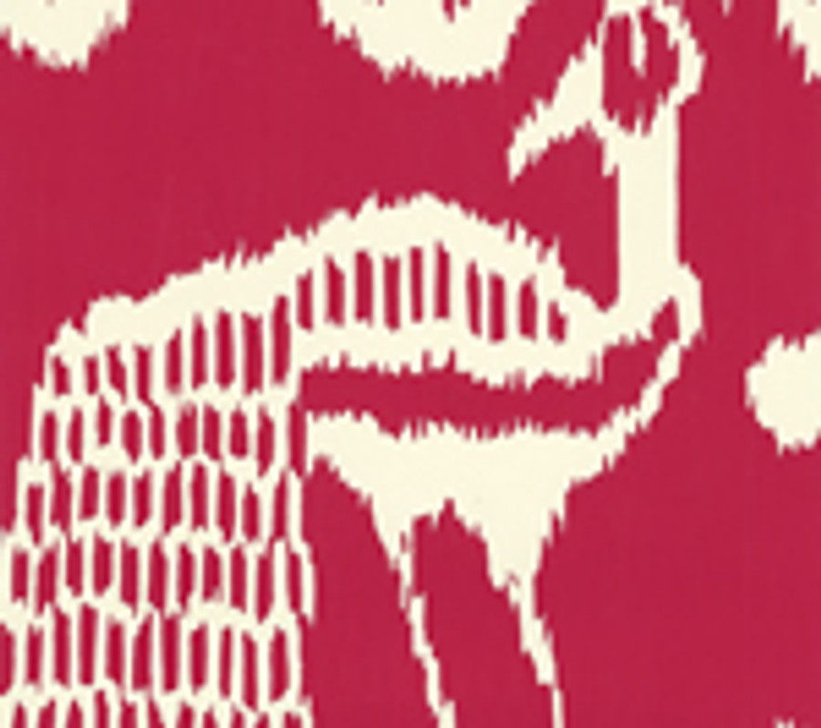 Quadrille Bali II Wallpaper Red on  Off White 2430-52OWP