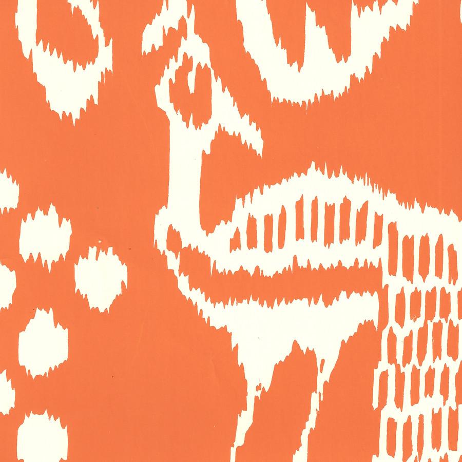 Quadrille Bali II Wallpaper Orange on Off White 2430-45WP