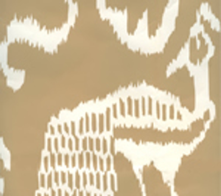 Quadrille Bali II Wallpaper in Camel II on  Almost White 2430-35WP