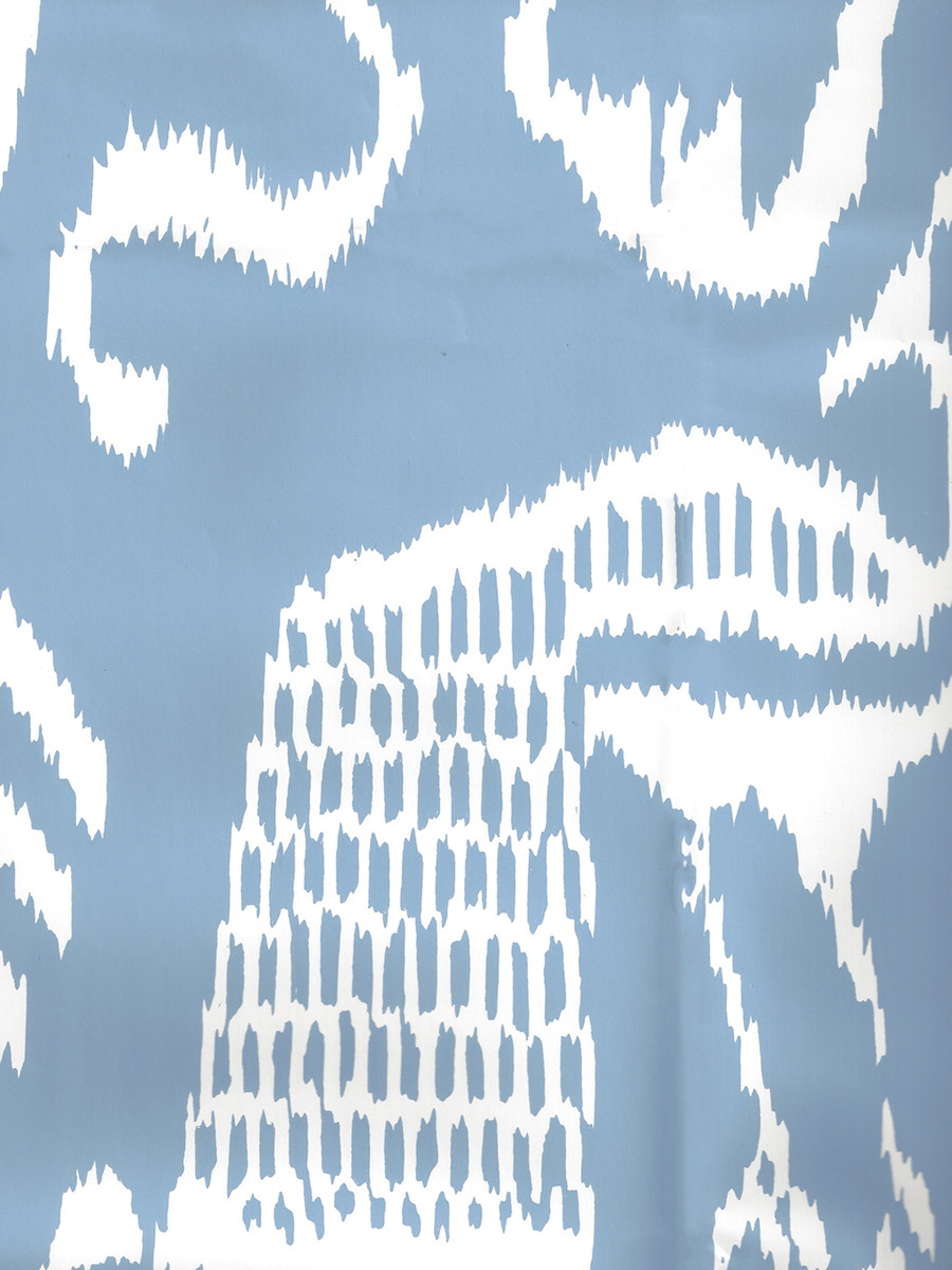Quadrille Bali II Wallpaper French Blue on White 2430-30WP