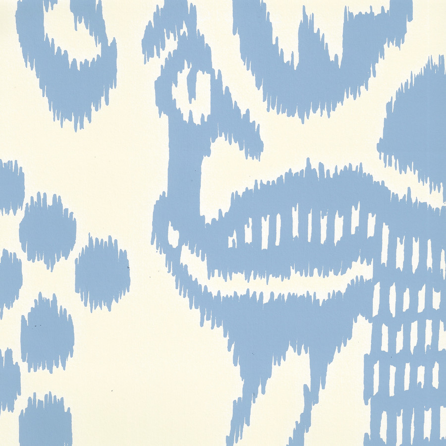 Quadrille Bali Isle Wallpaper French Blue on Off White 2435-01WP