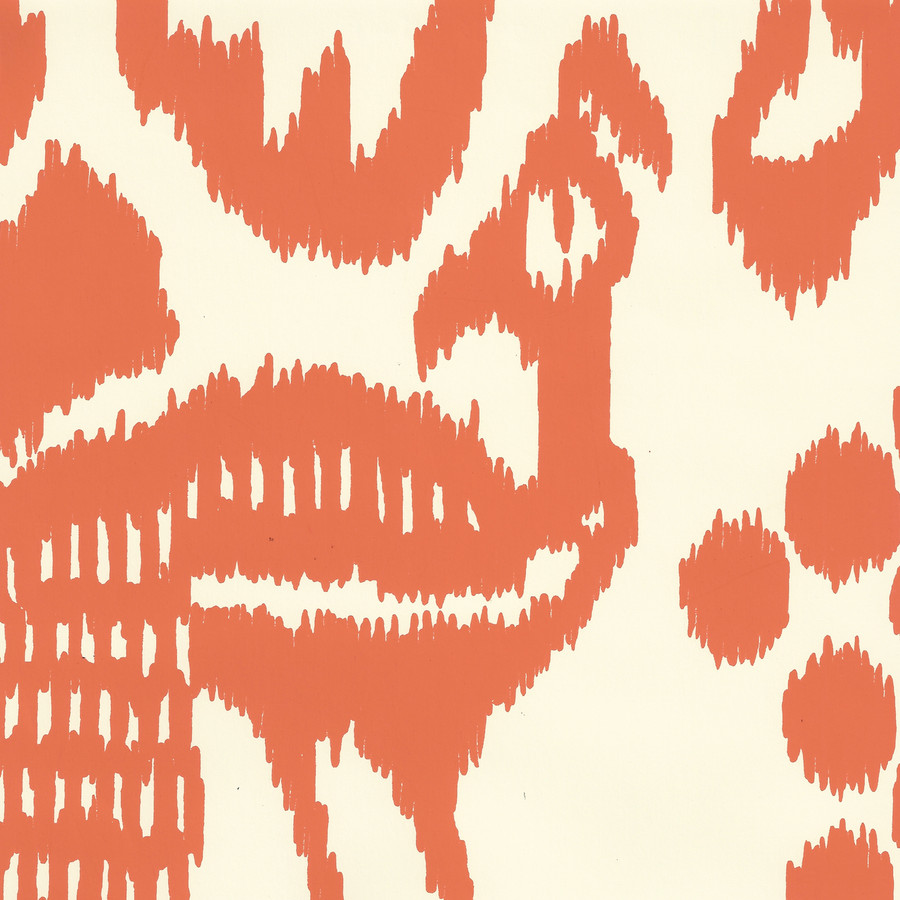 Quadrille Bali Isle Wallpaper Orange on Off White 2435-45WP