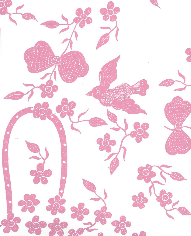 Quadrille Birds II Wallpaper Pink on White 5050-05WP