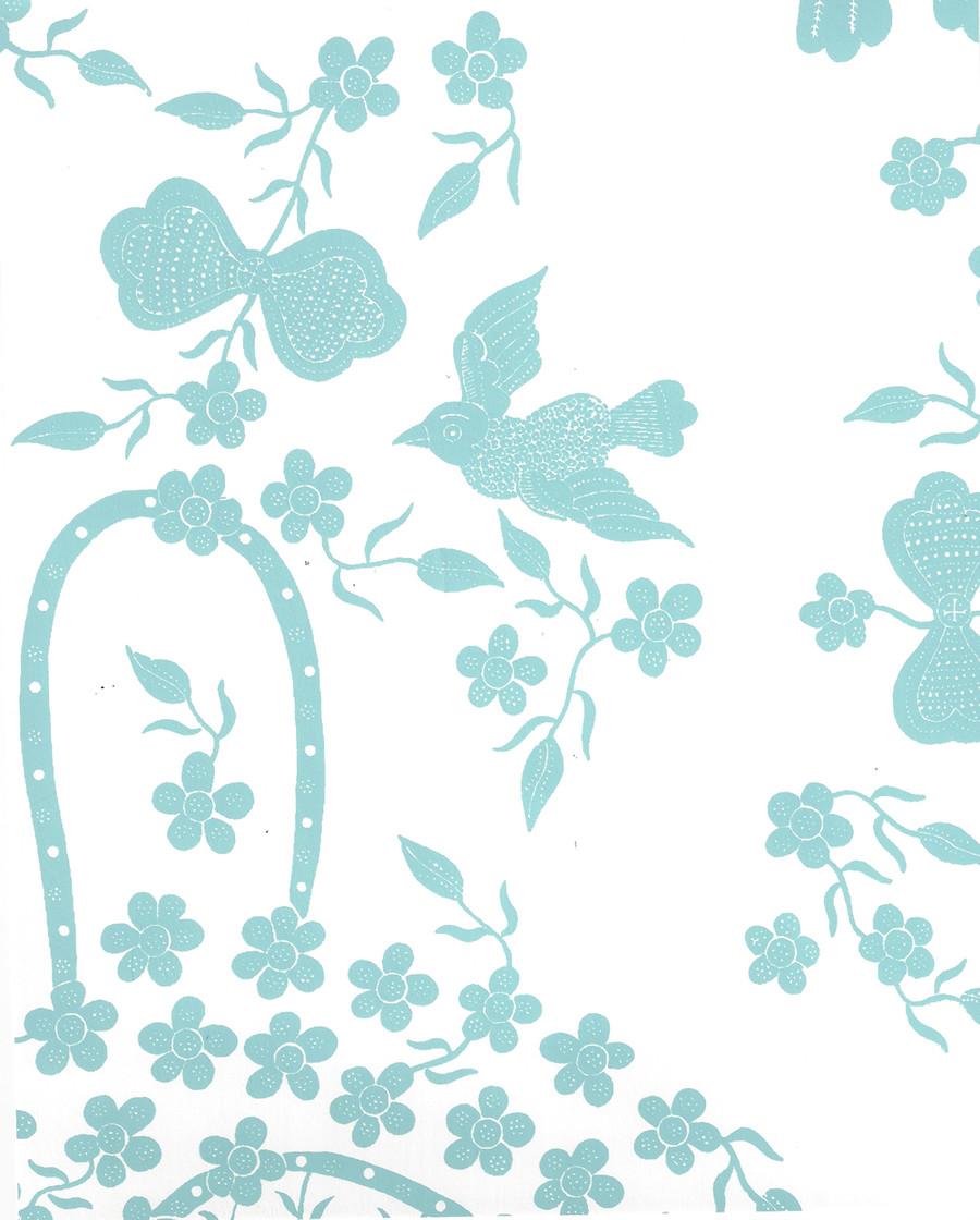 Quadrille Birds II Wallpaper in New Blue on White 5050-02WP