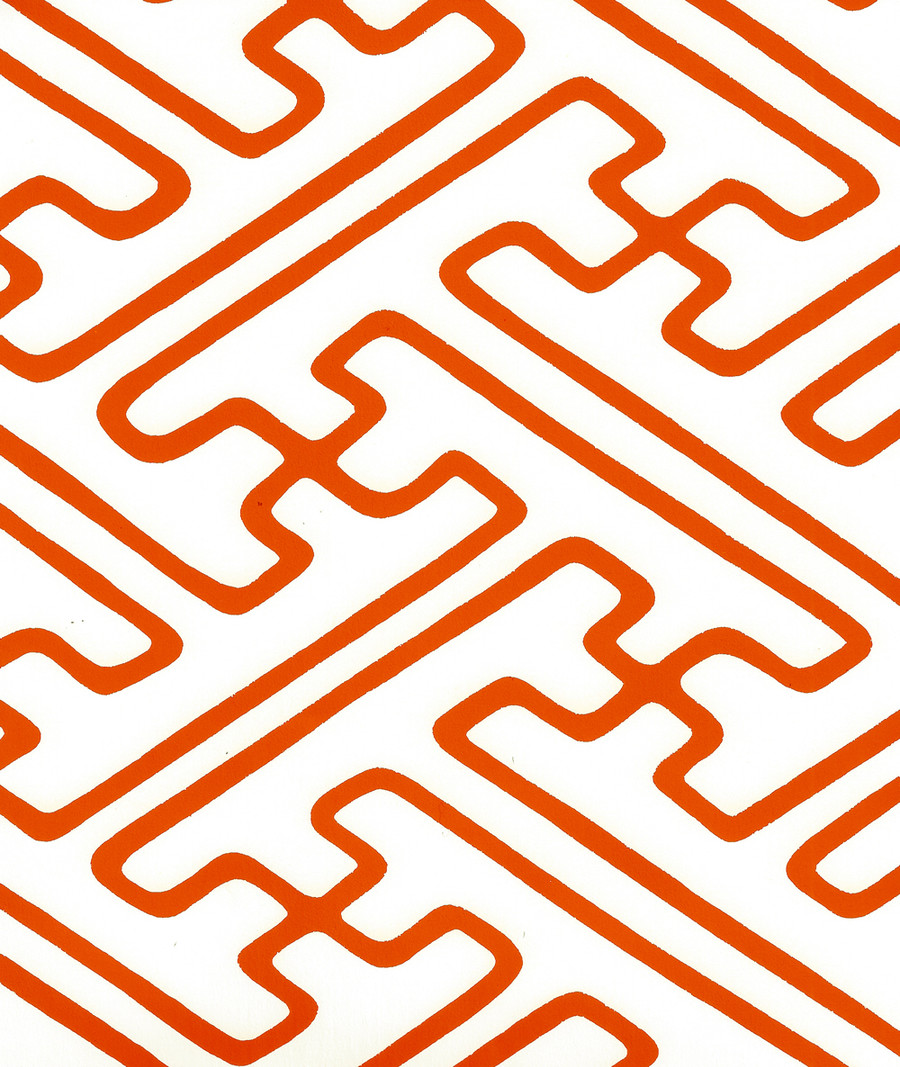 Quadrille Saya Gata Lines Wallpaper Orange Almost White AP207-08