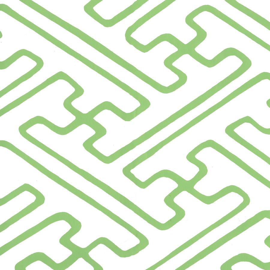 Quadrille Saya Gata Lines Wallpaper Kelly Green on White AP207-41