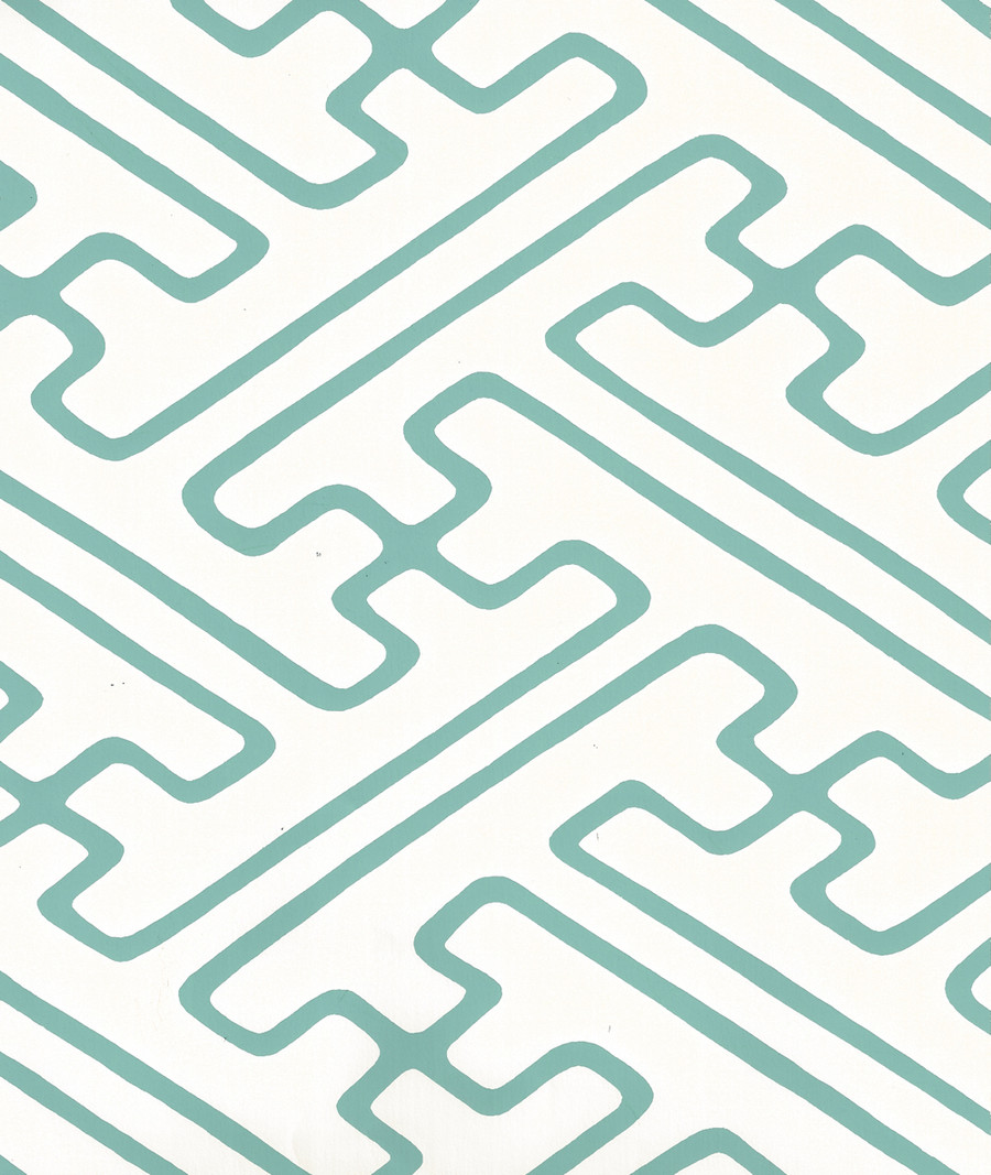 Quadrille Saya Gata Lines Wallpaper Turquoise on Almost White AP207-11