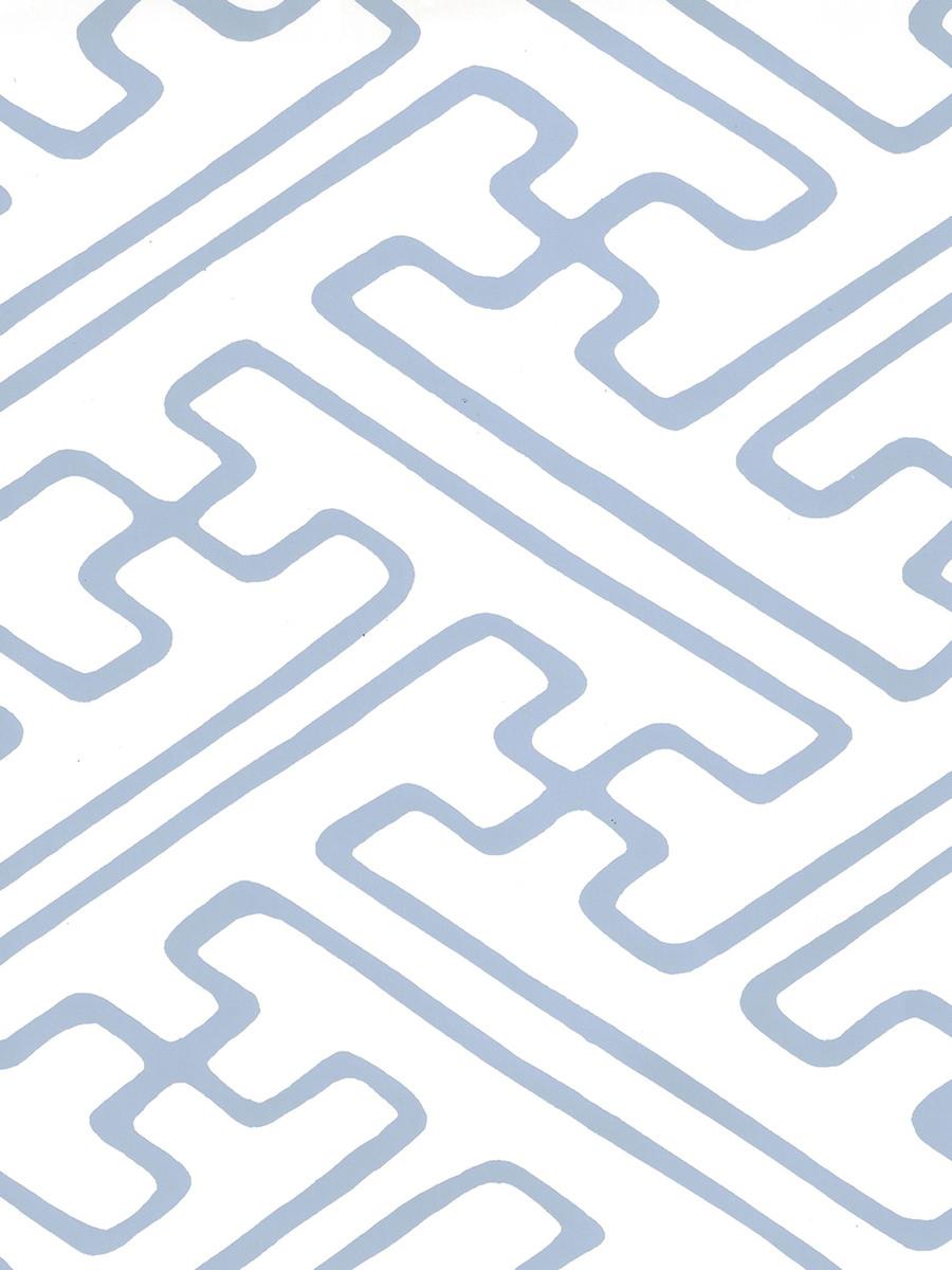 Quadrille Saya Gata Lines Wallpaper Slate Blue Almost White AP207-14