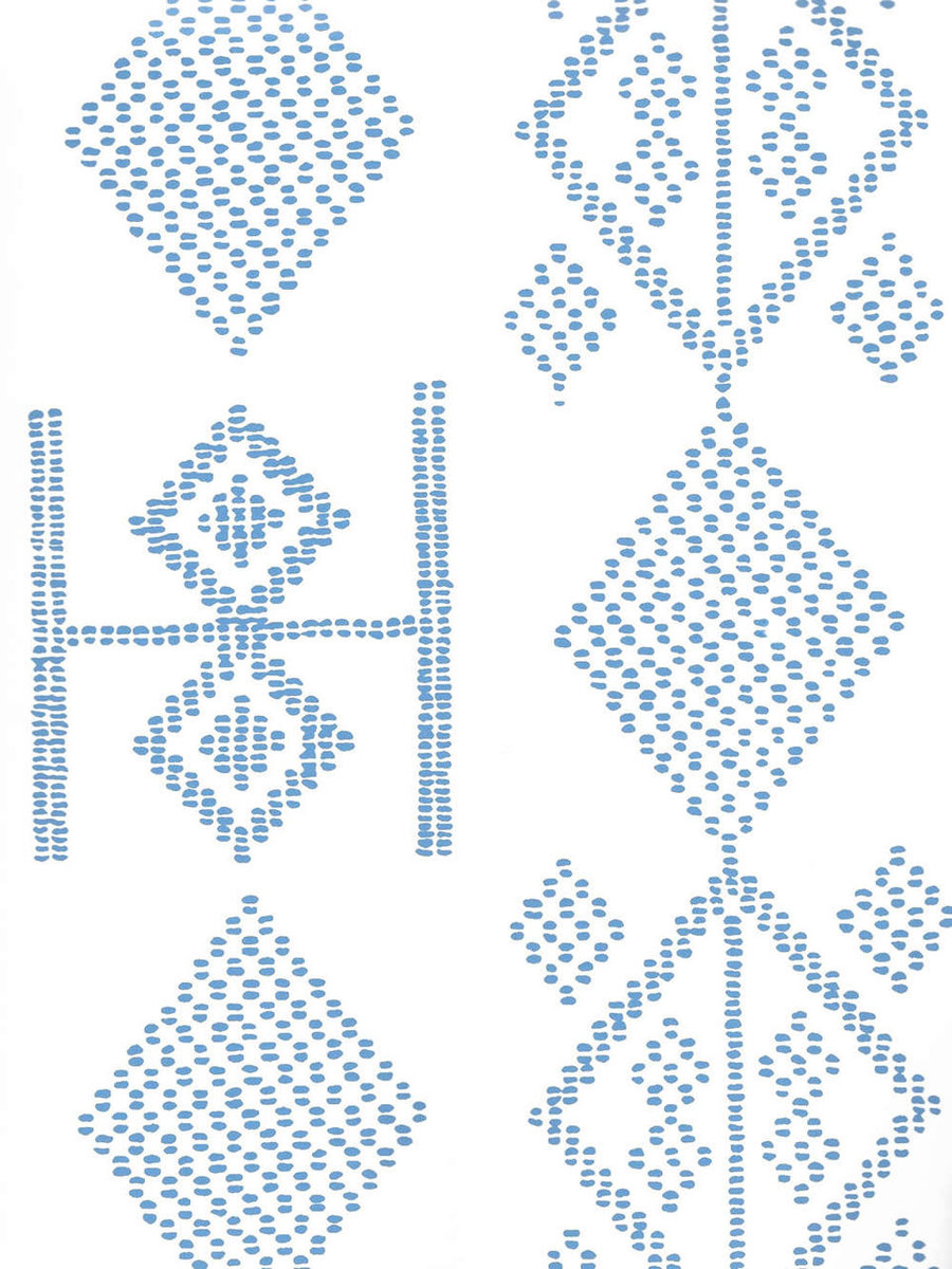 Quadrille Vacances Wallpaper French Blue On Almost White AP890-05AWP