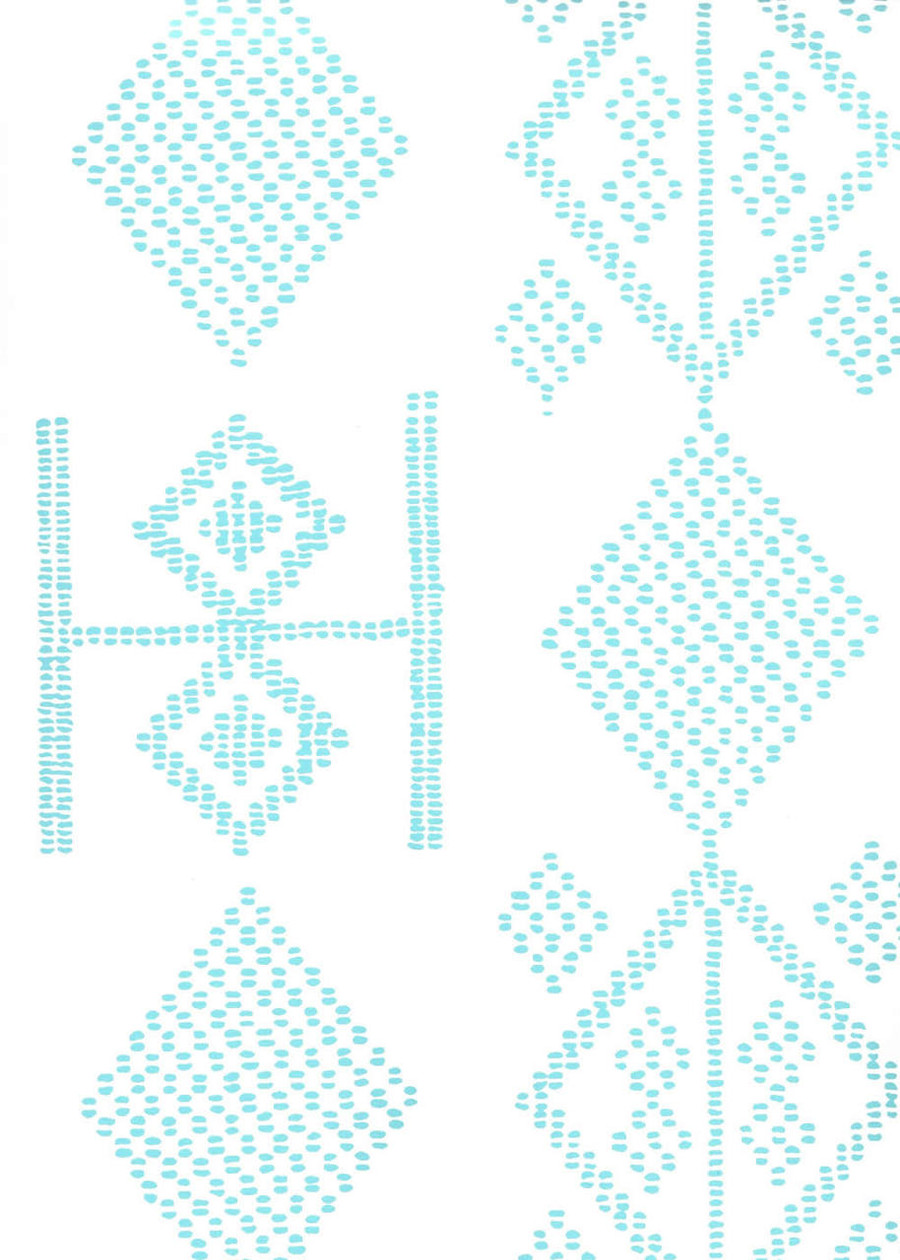 Quadrille Vacances Wallpaper Turquoise On  Almost White AP890-03AWP
