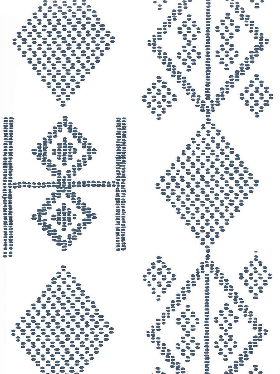 Quadrille Vacances Wallpaper Navy On Almost White AP890-09AWP
