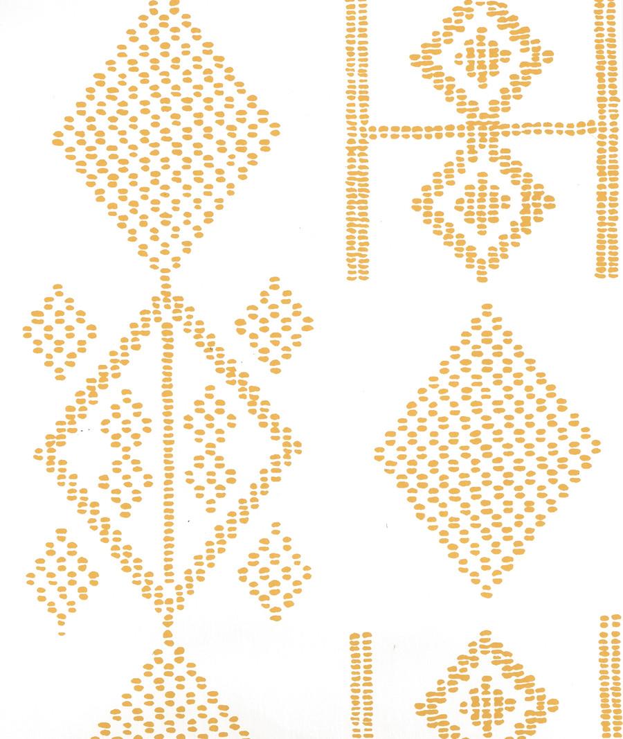 Quadrille Vacances Wallpaper Inca Gold on Almost White AP890-12AWP