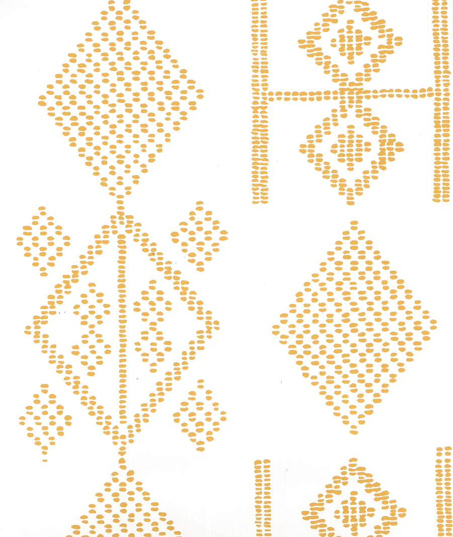 Quadrille Vacances Wallpaper Inca Gold on Almost White AP890-12AWP