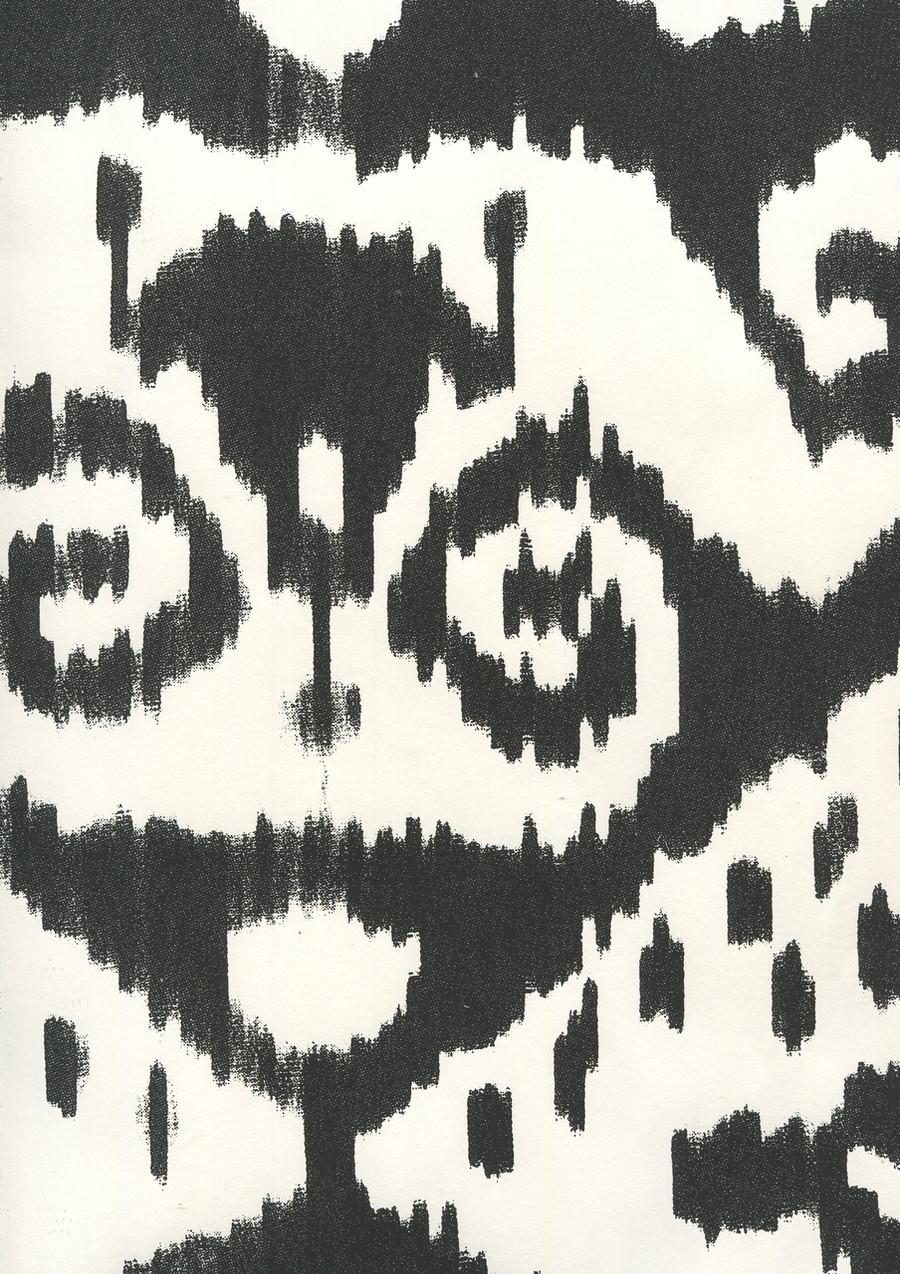 Quadrille Malaya Wallpaper Black on Almost White 306053W