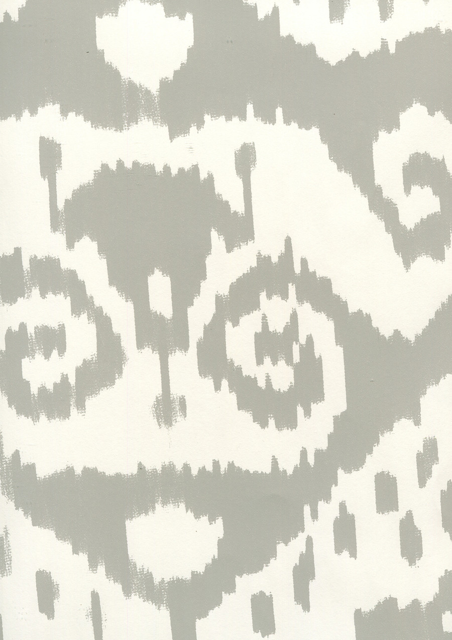Quadrille Malaya Wallpaper Grey on Almost White 306046W