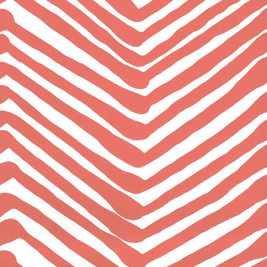 Quadrille Zig Zag Wallpaper New Shrimp on Almost White AP302-06
