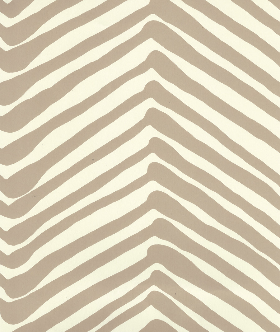 Quadrille Zig Zag Wallpaper Taupe on Off White AP302-11