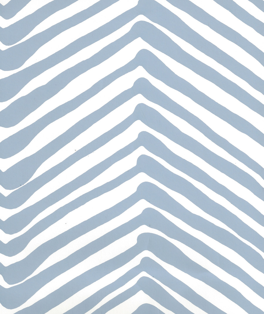 Quadrille Zig Zag Wallpaper  Slate Blue on Almost White AP302-09