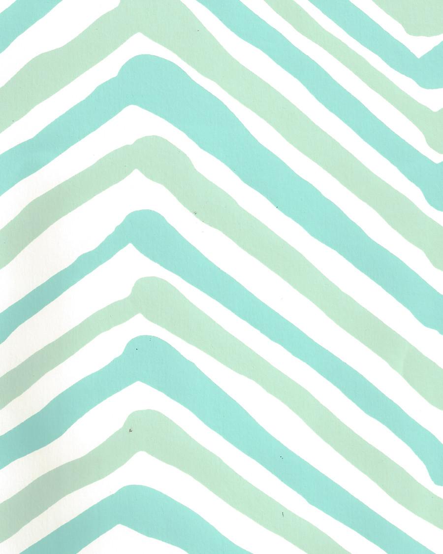 Quadrille Zig Zag Multicolor Wallpaper Aqua Light Turquoise on Almost White AP950-07