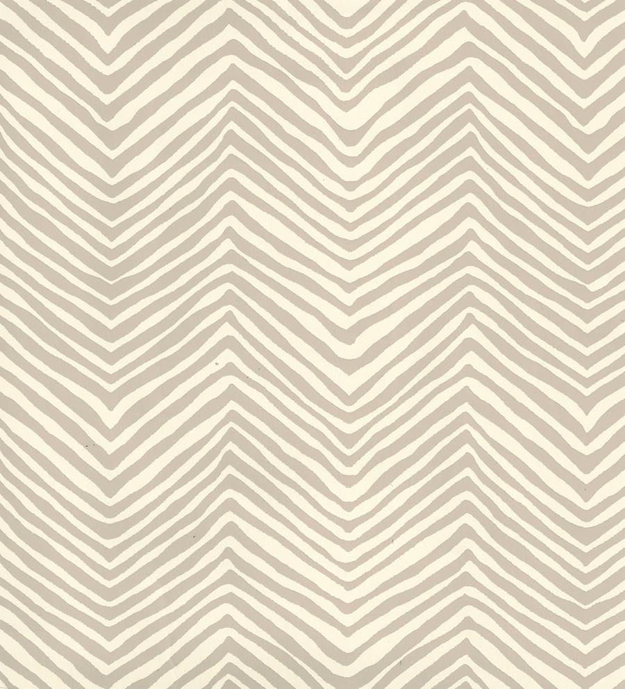 Quadrille Petite Zig Zag Wallpaper Taupe on Off White AP303-11
