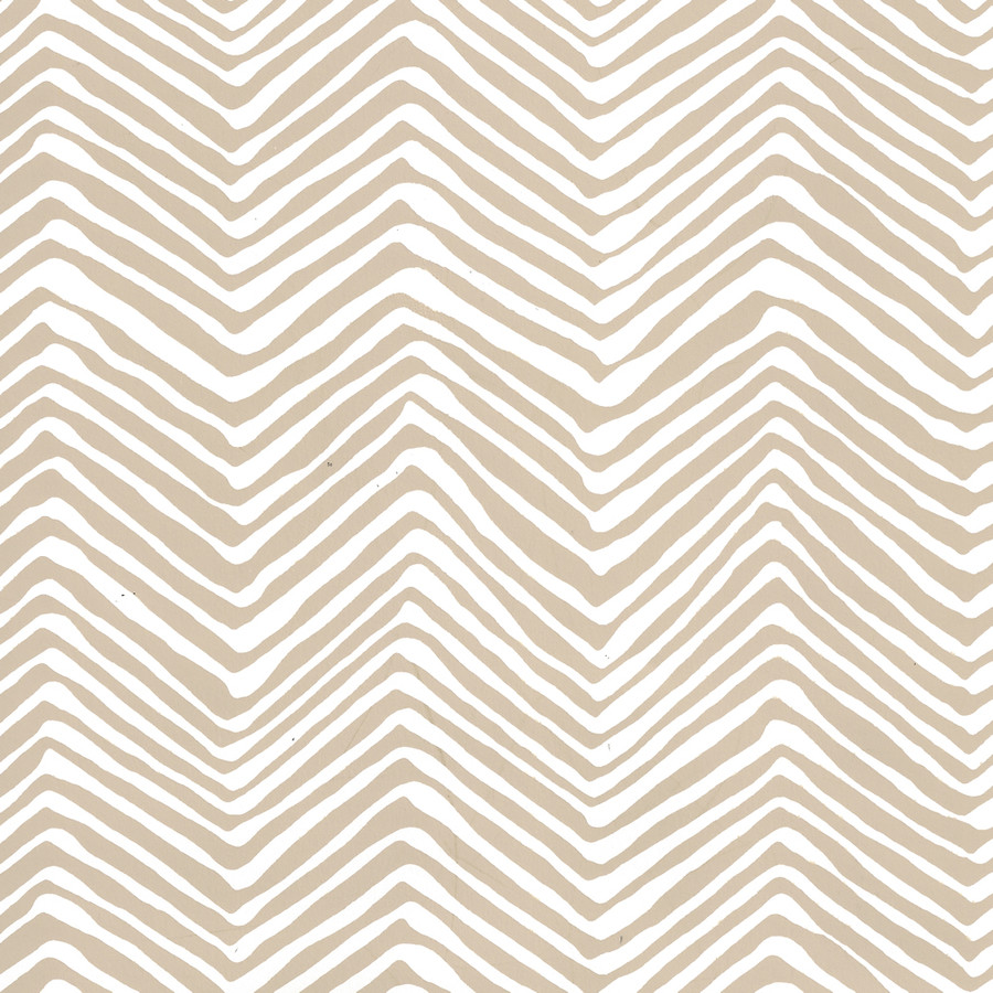Quadrille Petite Zig Zag Wallpaper Sand on Almost White AP303-5