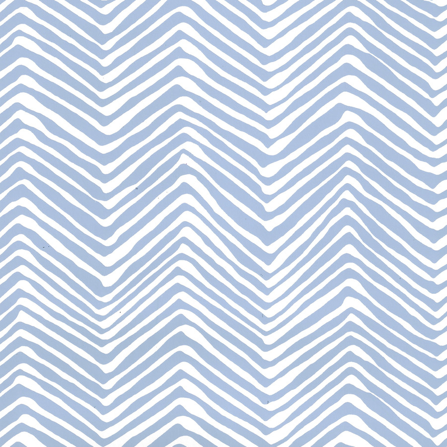 Quadrille Petite Zig Zag Wallpaper French Blue on White AP303-15WWP