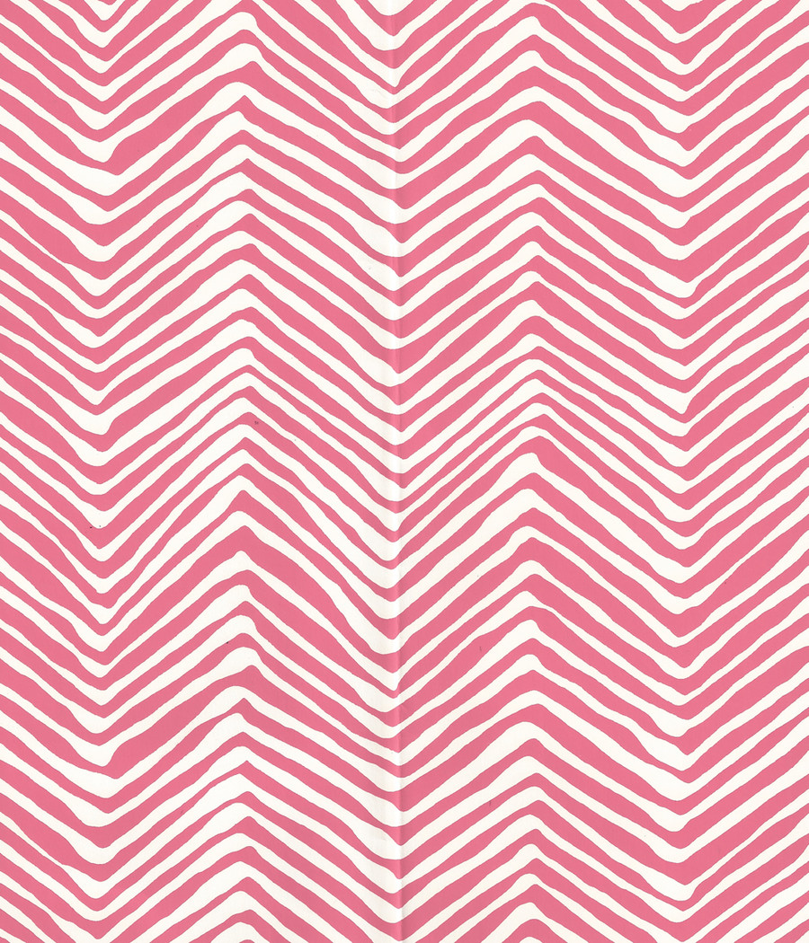 Quadrille Petite Zig Zag Wallpaper Pink on -Almost White AP303-2