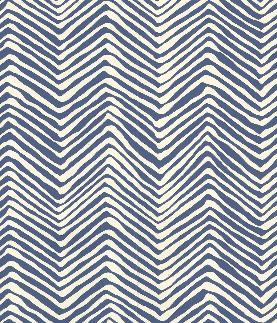 Quadrille Petite Zig Zag Wallpaper New Navy on Off White AP303-39