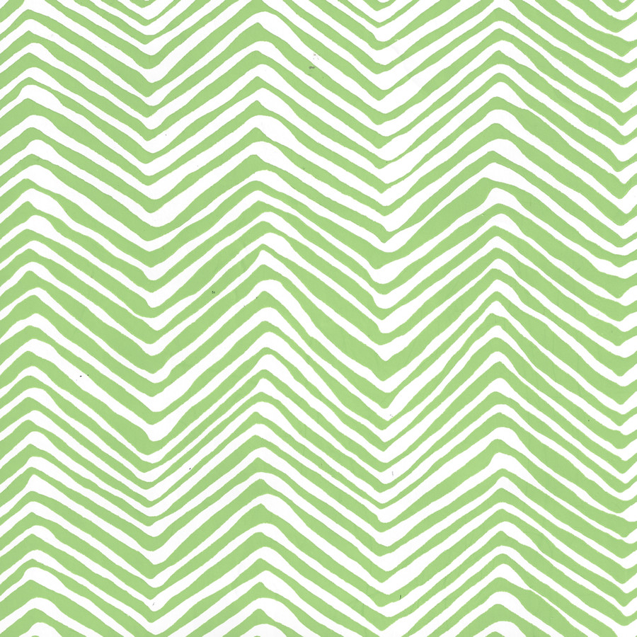 Quadrille Petite Zig Zag Wallpaper Green on White Vinyl AP303-3