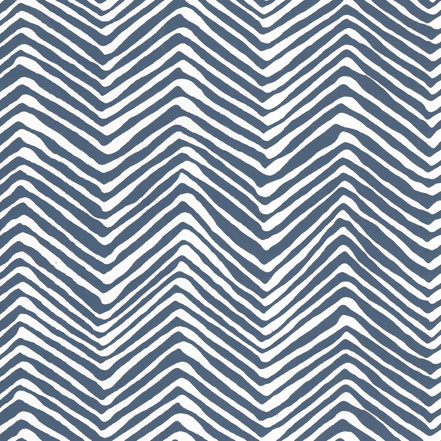 Quadrille Petite Zig Zag Wallpaper New Navy on White Vinyl AP303-39PV