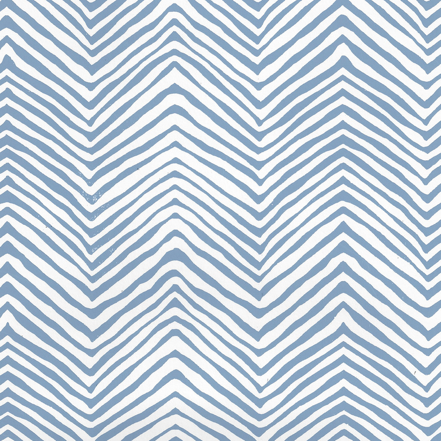 Quadrille Petite Zig Zag Wallpaper Slate Blue on White Vinyl AP303-09PV