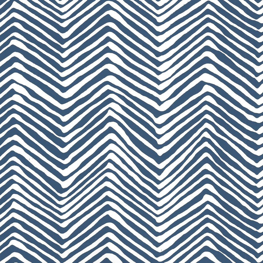 Quadrille Petite Zig Zag Wallpaper Navy on White AP303-18W