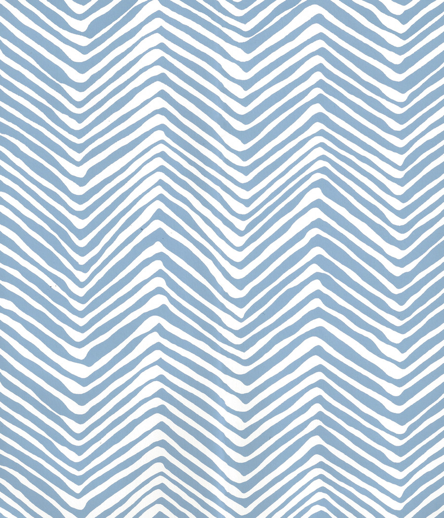 Quadrille Petite Zig Zag Wallpaper French Blue on Almost White AP303-15AWP