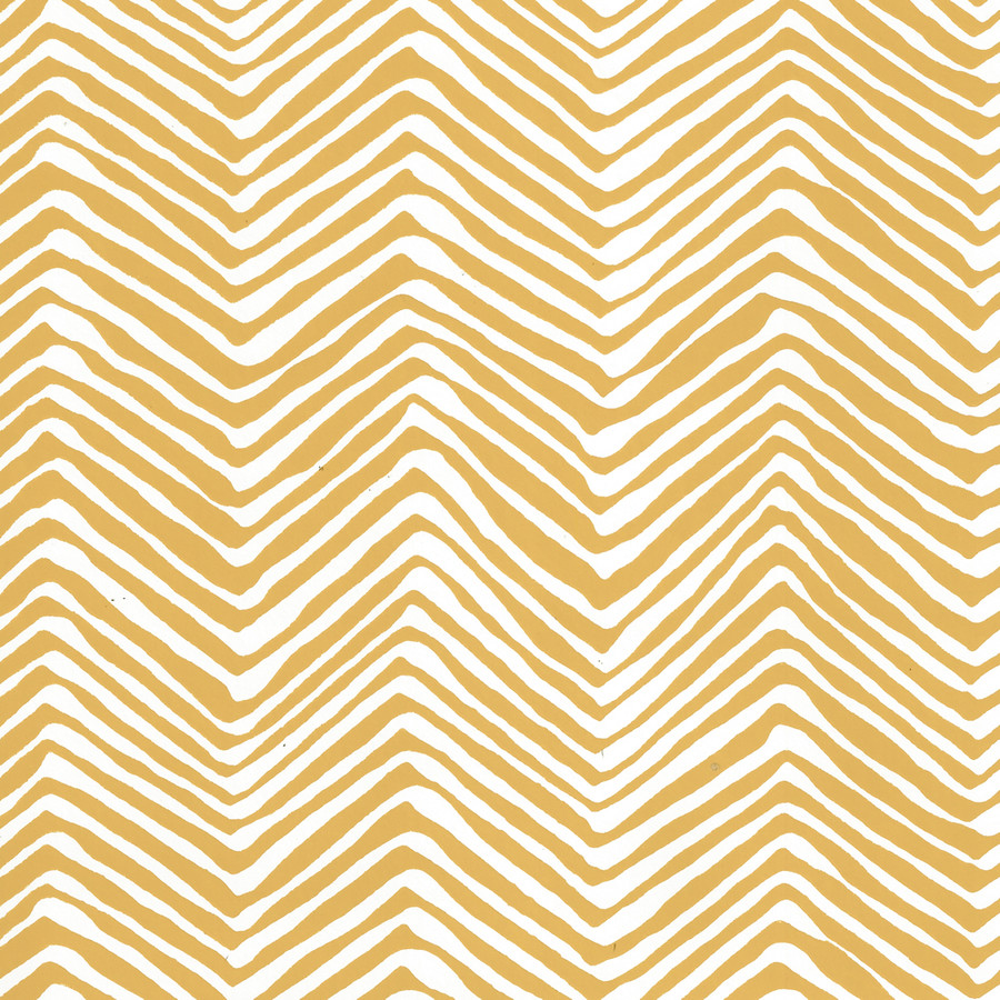 Quadrille Petite Zig Zag Wallpaper Inca Gold on White Vinyl AP303-05PV