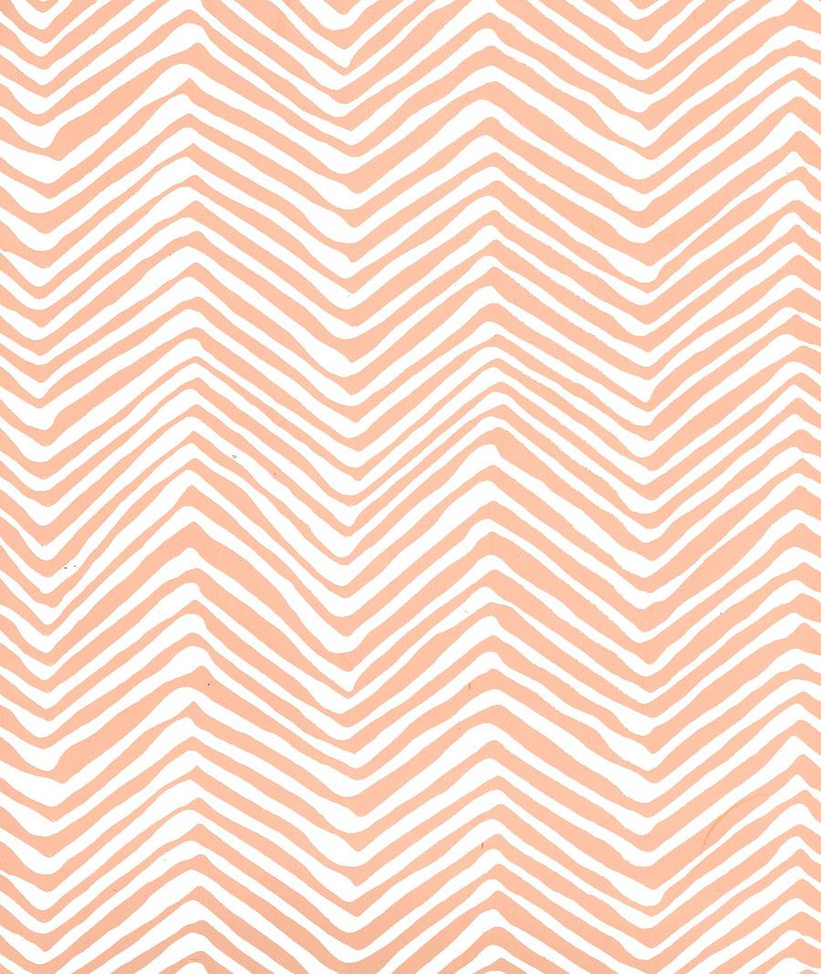 Quadrille Petite Zig Zag Wallpaper Peach on White AP303-4