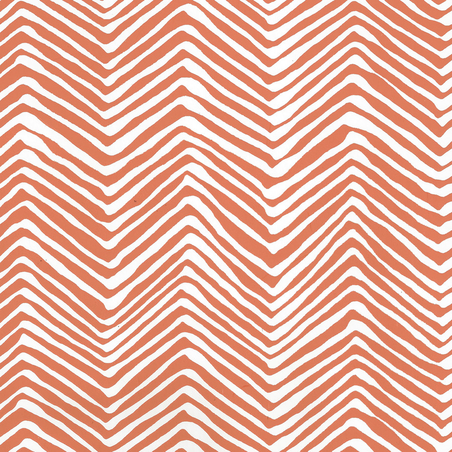 Quadrille Petite Zig Zag Wallpaper New Shrimp on White Vinyl AP303-06PV